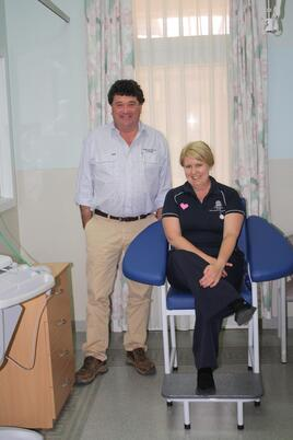 Princess Royal's Simon Rowe and Burra Hospital's Chris Landorf with the new blood collecting chair.