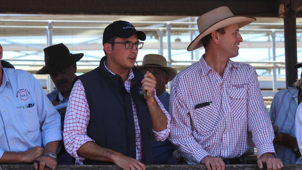 AuctionsPlus product development manager Ciaran O'Gorman and Princess Royal Station freight and livestock manager Luke Bavistock - Stock & Land